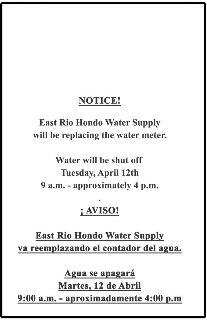 Notice Door Hanger.- Water Shut Off